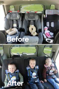 fitting 3 car seats across one row